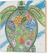 Paisley Sea Turtle Wood Print