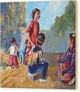 Paiute Indian Children Playing At The Powwow Wood Print