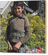 Pakistani Boy In Front Of Hotel Ruins In Swat Valley Wood Print