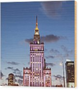 Palace Of Culture And Science At Dusk In Warsaw Wood Print