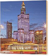 Palace Of Culture And Science In Warsaw At Dusk Wood Print by Artur Bogacki