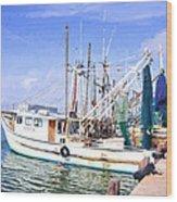 Palacios Texas Shrimp Boat Lineup Wood Print