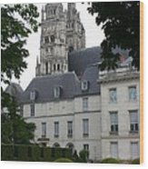 Palais In Tours With Cathedral Steeple Wood Print