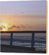 Palanga Sea Bridge At Sunset. Lithuania Wood Print