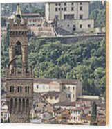 Palazzo Vecchio Tower And Forte Belvedere Wood Print