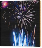 Pale Blue And Red Fireworks Wood Print
