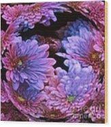 Pale Moon Flower Orb Wood Print