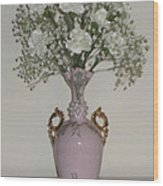 Pale Vase White Flowers Wood Print