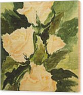 Pale Yellow Roses Wood Print