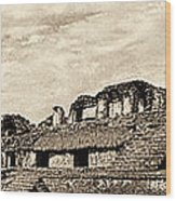 Palenque Panorama Sepia Wood Print