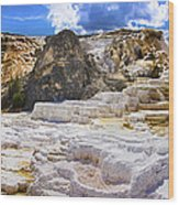 Palette Spring Terrace Panorama - Yellowstone National Park Wyoming Wood Print