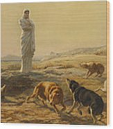 Pallas Athena And The Herdsmans Dogs Wood Print