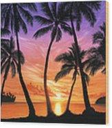 Palm Beach Sundown Wood Print