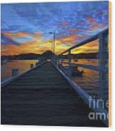 Palm Beach Wharf At Sunset Wood Print