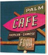 Palm Cafe Wood Print by Gail Lawnicki