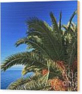 Palm Over The Sea Wood Print