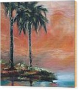 Palm Refection Sunset Wood Print