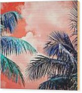Palmscape Red Wood Print