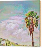 Palm Tree Against Pastel Sky - Square Wood Print
