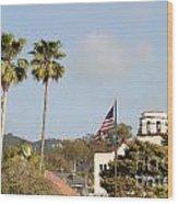 Palm Tree Flag Wood Print