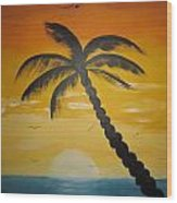 Palm Tree Wood Print by Haleema Nuredeen