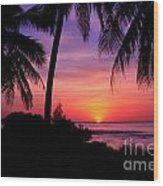Palm Tree Sunset In Paradise Wood Print