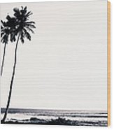 Palm Trees And Beach Silhouette Wood Print
