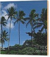 Palm Trees In Hawaii Wood Print