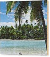 Palm Trees On The Beach, Rangiroa Wood Print