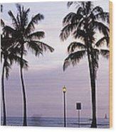 Palm Trees On The Beach, Waikiki Wood Print
