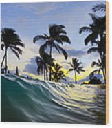 Palm Wave Wood Print
