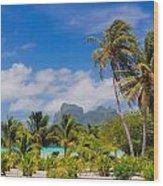 Palm Waving Wood Print
