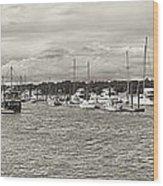 Palmetto Bay Marina Panorama Wood Print