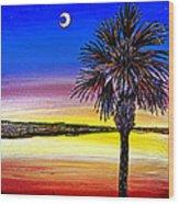 Palmetto Sunset Moon And Stars Wood Print