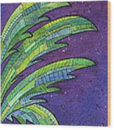 Palms Against The Night Sky Wood Print