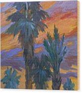 Palms And Sunset Wood Print