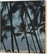 Palms At Dusk Wood Print