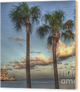 Palms At The Pier Wood Print
