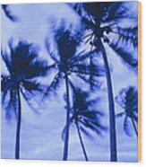 Palms In Storm Wind-bora Bora Tahiti Wood Print