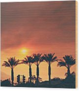 Palms On Fire Wood Print by Laurie Search