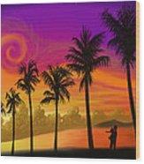 Palms Over St. Croix Wood Print