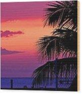 Palmtree At Sunset Wood Print