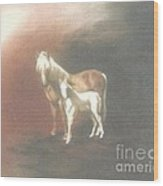 Palomino And Colt Wood Print