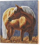 Palomino Horse - Gold Horse Meadow Wood Print