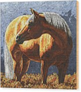 Palomino Horse - Variation Wood Print by Crista Forest