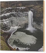 Palouse Falls In Winter Wood Print