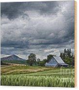 Palouse Farm And Steptoe Butte Wood Print