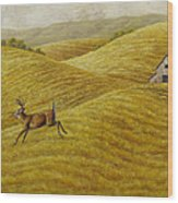 Palouse Farm Whitetail Deer Wood Print by Crista Forest