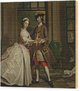 Pamela And Mr B. In The Summerhouse Wood Print