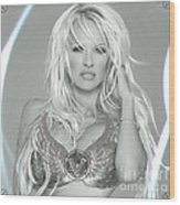 Pamela Anderson - Angel Rays Of Light Wood Print